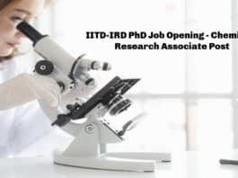 IITD-IRD PhD Job Opening - Chemistry Research Associate Post