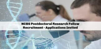 NCBS Postdoctoral Research Fellow Recruitment - Applications Invited