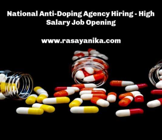 National Anti-Doping Agency Hiring - High Salary Job Opening
