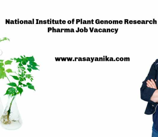 National Institute of Plant Genome Research - Pharma Job Vacancy