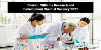 Sherwin Williams Research and Development Chemist Vacancy 2021