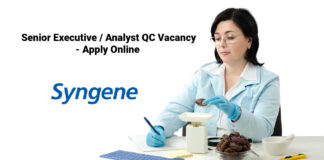 Syngene Senior Executive / Analyst QC Vacancy - Apply Online