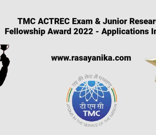 TMC ACTREC Exam & Junior Research Fellowship Award 2022 - Applications Invited